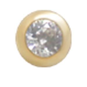 14 Karat Gold Schraubkugel mit Kristall und 1.2mm Gewinde