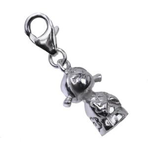 Anhänger für Armband oder Kette aus 925 Silber Kokeshi-Puppe 09 / Motiv Blume