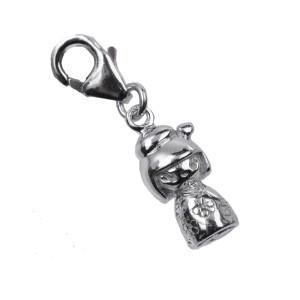Anhänger aus 925 Silber für Armband oder Kette Kokeshi-Puppe 04 / Motiv Schmetterling