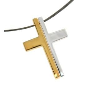Anhänger Kreuz zweiteilig Silber, vergoldet & glänzend