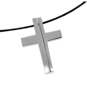 Anhänger Kreuz zweiteilig Silber, mattiert &  glänzend