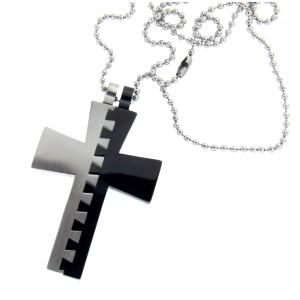 Kettenanhänger aus Edelstahl, Motiv Kreuz