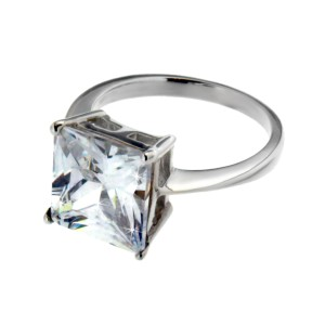 Ring aus Sterling Silber mit eckigem Zirkonia
