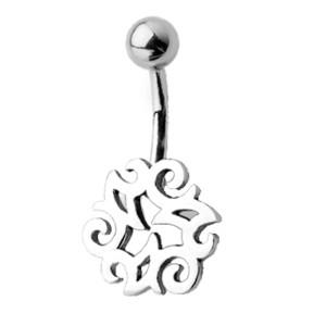 Piercing gebogen Bauchnabel mit Gothic Design, Rätsel