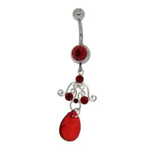 Piercing gebogen Bauchnabel mit Briolett Behang - Ornament mit großem roten Briolette