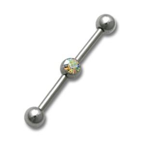 Industrial Ohrpiercing aus Chirurgenstahl mit Swarovski Kristall, regenbogenfarbiger Kristal