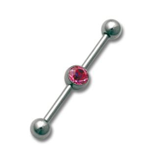 Industrial Ohrpiercing aus Chirurgenstahl mit Swarovski Kristall, roter  Kristal