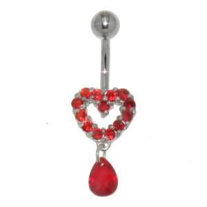 Bauchnabel Piercing mit Motiv aus 925 Sterling Silber und Anhänger-Kristallen Briolette
