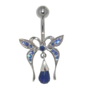 Bauchnabel Piercing mit Briolette-Anhänger Sterling Silber - Schmetterling