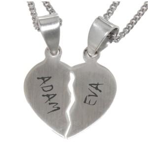 Herzförmiger Paaranhänger aus 925 Silber mit individueller Gravur