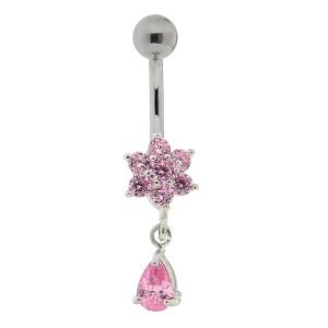 Bauchnabel Piercing mit gefassten Zirkonien, rosa