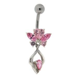 Bauchnabel Piercing mit gefassten Zirkonien, zarter Schmetterling mit Anhang, rose