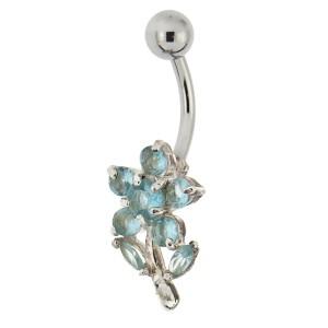 Bauchnabel Piercing mit gefassten Zirkonien, kleines Blüüümchen, Kristalle aquamarin