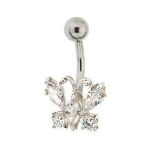 Bauchnabel Piercing mit gefassten Zirkonien, zarter Schmetterling, Kristalle klar