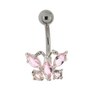 Bauchnabel Piercing mit gefassten Zirkonien, zarter Schmetterling, Kristalle rosa