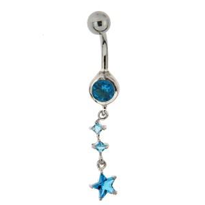 Bauchnabel Piercing mit gefassten Zirkonien, Sternenkette aquamarin
