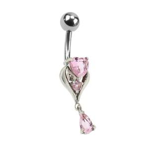 Bauchnabel Piercing mit gefassten Zirkonien, zartes Herz mit Anhänger, Kristalle in rosa