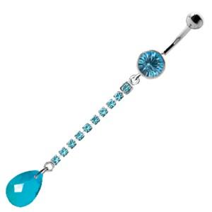 Piercing gebogen Bauchnabel mit Briolett Behang, Strasskette hellblau
