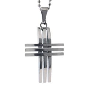 Edelstahl-Kettenhanhänger Kreuz in Streifen Design