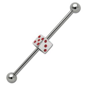 Industrial Barbell piercing aus Chirurgenstahl mit Würfel