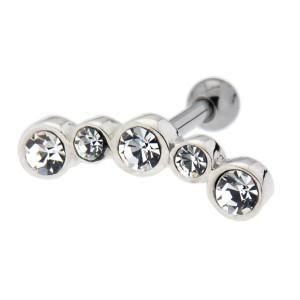 TIP Ohrpiercing mit fünf Kreise aus 925 Sterling Silber mit Kristallen und 316L Barbell 1.2x6mm
