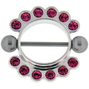 Brustwarzen Piercing schild mit 12 Kristallen