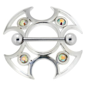 Brustwarzen Piercing Schild Ninja 925 Silber