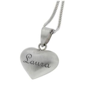 Herzförmiger Anhänge mit Gravur aus 925 Sterling Silber