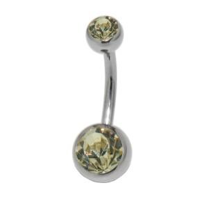piercingschmuck - Standard Stab mit Swarovski Steinen, doppelt juwelliert