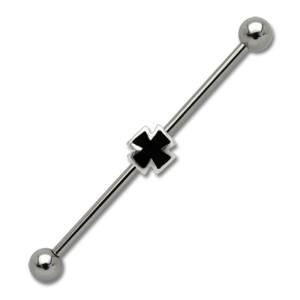 Industrial Barbell  aus Chirurgenstahl mit einem Kreuz