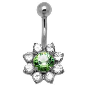 Bauchnabelpiercing in Blütenform mit Swarovski Kristallen 1.6x10mm - mit doch sehr auffällig schönem Motiv