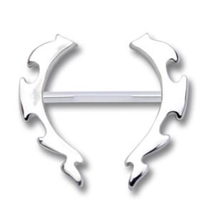 Nipple Brustwarzen Piercing aus PMFK mit Silber Tribal Motiv