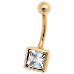 9 Karat Gold Bauchnabel Piercing mit Swarovski Stein, quadratisch und helblau