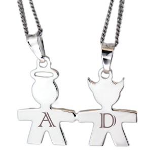 Partneranhänger Engel und Teufel aus 925 Sterling Silber mit individueller Gravur