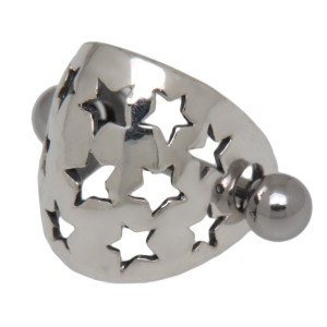 TIP Ohrpiercing aus 925 Silber aus einem Schild mit Sternen und einem Barbell
