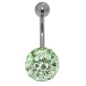 Bauchnabelpiercing mit vielen grünen Kristallen in einer Epoxitmasse in 6-14mm Länge
