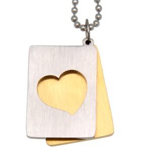Zweiteiliger Herz Anhänger aus Edelstahl, mattiert auf goldfarben
