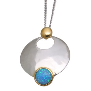 Opal Pendant 925* w.Gold plate, light blue