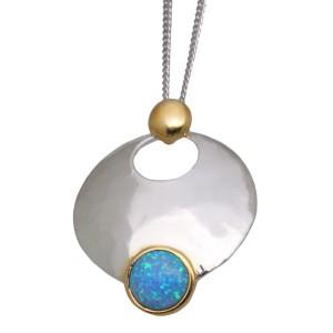 Opal Pendant 925* w.Gold plate, light blue