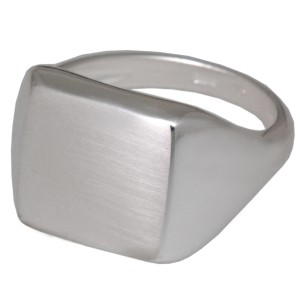Siegelring 925 Sterling Silber4eckige mattierte Fläche