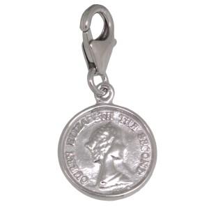 Charm-Anhänger Münze mit Königin Elisabeth aus 925 Silber
