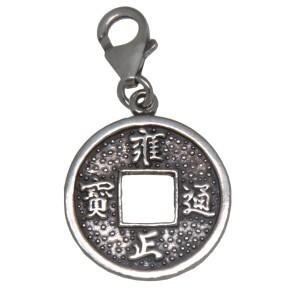 Charm-Anhänger Chinesische Münze aus 925 Sterling