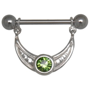 Brustwarzenpiercing aus 925 Sterling Silber halbrunder Ornament-Anhang mit einem Kristall