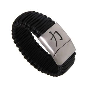 Echtlederarmband schwarz geschnürt, Verschluss Edelstahl, mit individueller Gravur