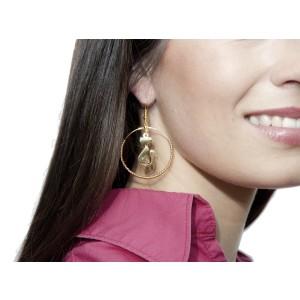 Ohrringe mit vergoldetem Katzenmotiv