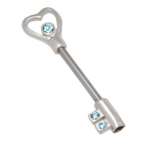 Brustwarzenpiercing aus einem 316L Chirurgenstahl Barbell und einem 925 Silber Schlüsseldesign