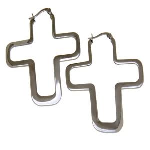 Auffällige Ohrringe aus Edelstahl Motiv Kreuz