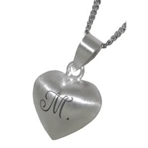 Herzförmiger mattierter Anhänger aus 925 Sterling Silber
