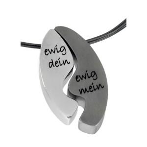 Anhänger zweiteiligs Oval aus Edelstahl mit individueller Gravur