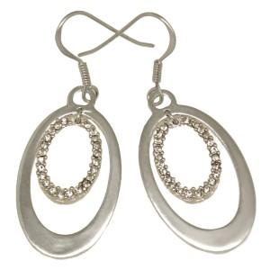 Ohrhänger oval 925 Silber, kleine klare Kristalle
